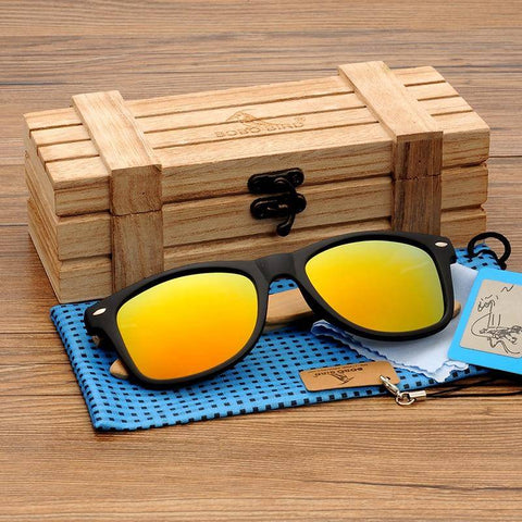 Image of Natural Bamboo Sunglasses Mirrored Polarized For Women - Gifts For Family Online