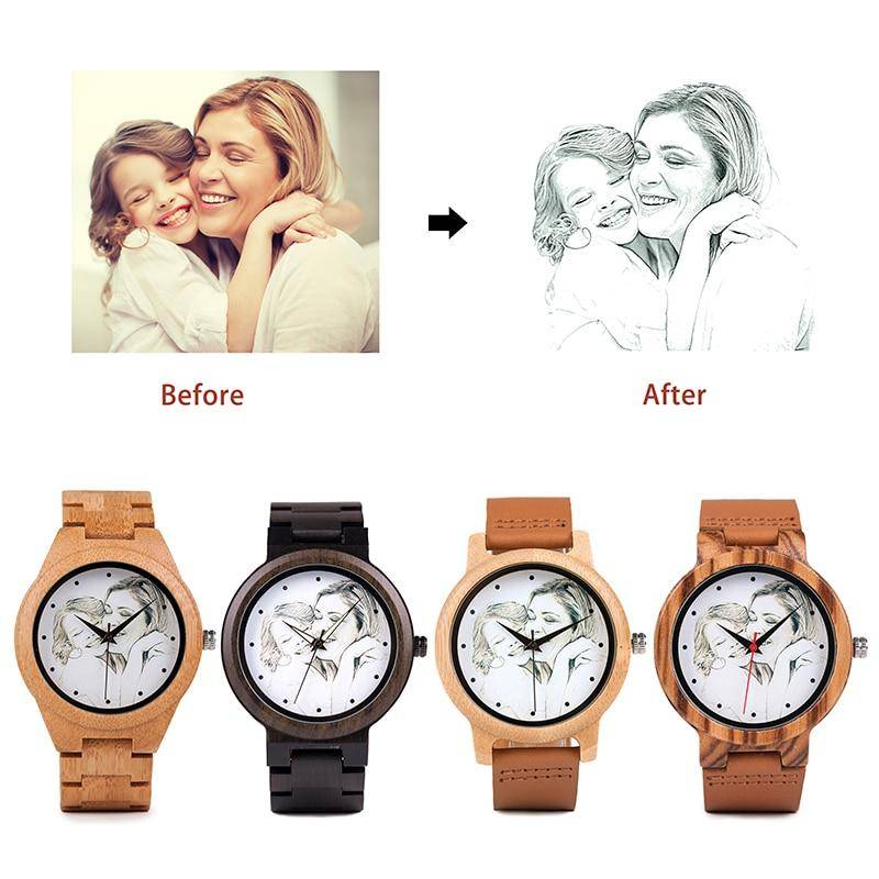 Bamboo Watches For Women Men With Custom Photo