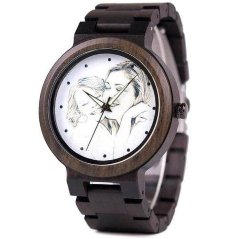 Image of Bamboo Watches For Women Men With Custom Photo - Gifts For Family Online
