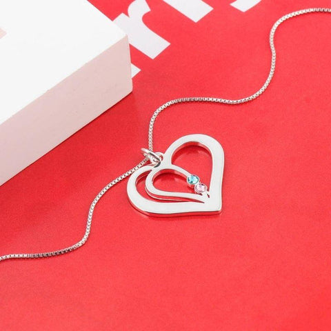 Image of Sterling Silver Heart Pendant w/2 Simulated Birthstones 2 Names - Gifts For Family Online