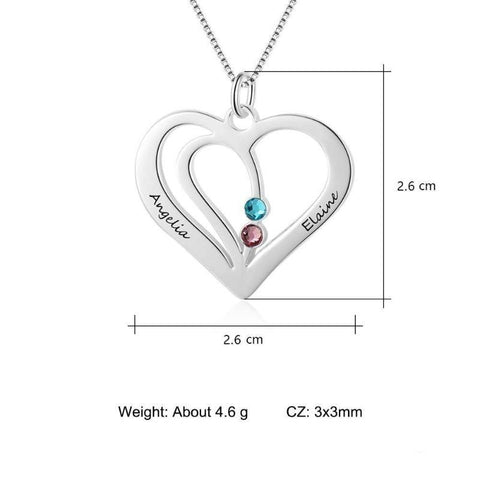 Sterling Silver Heart Pendant w/2 Simulated Birthstones 2 Names - Gifts For Family Online