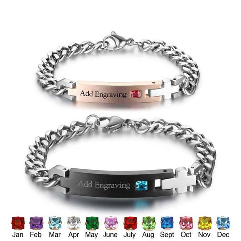 Couple Custom Bracelets Stainless Steel Bracelet With Birthstone & Name - Gifts For Family Online