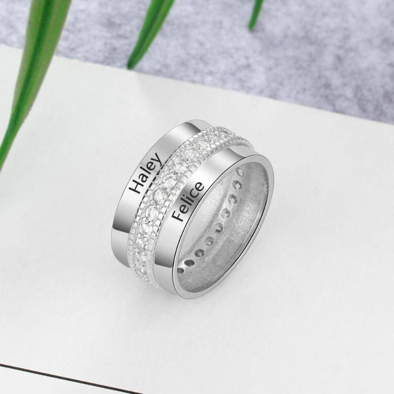 Sterling Silver Two Engraving Name Cubic Zirconia Ring