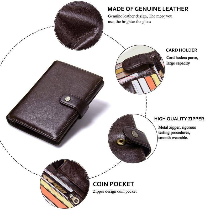 Mens Leather Wallet Card Holder Passport Holder Coin Purse Brown Black Wallets Free Name Engraving