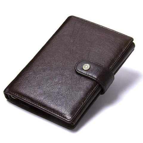 Image of Mens Leather Wallet Card Holder Passport Holder Coin Purse Brown Black Wallets Free Name Engraving - Gifts For Family Online