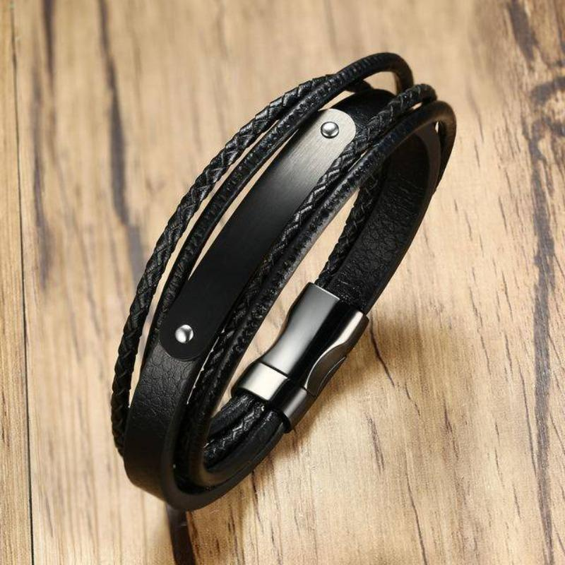 Engraved Bracelets Personalized Black Leather Rope Bracelet For Men