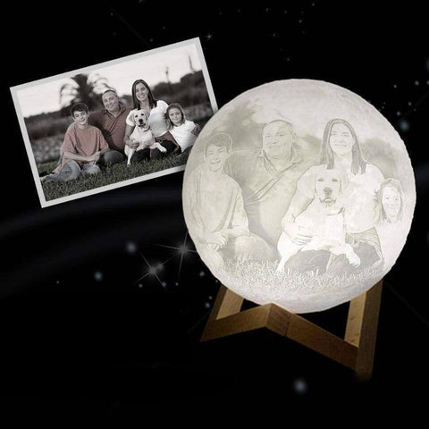 Image of Personalized Photo 3D Moon Lamp Customized Moon Lamp With Photo Engraved Text Custom Made Moon Lamp - Gifts For Family Online