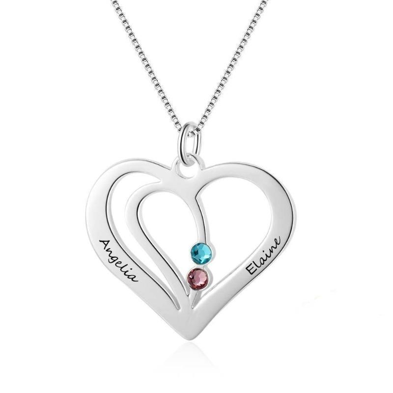 Sterling Silver Heart Pendant w/2 Simulated Birthstones 2 Names