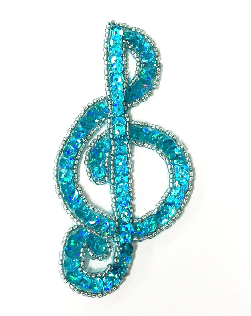 TREBLE CLEF SEQUIN BEADED MOTIF