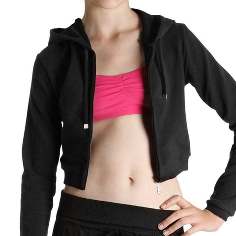 BLOCH LONG SLEEVE CROP HOODIE (CHILDS) - First Class Dancewear NQ