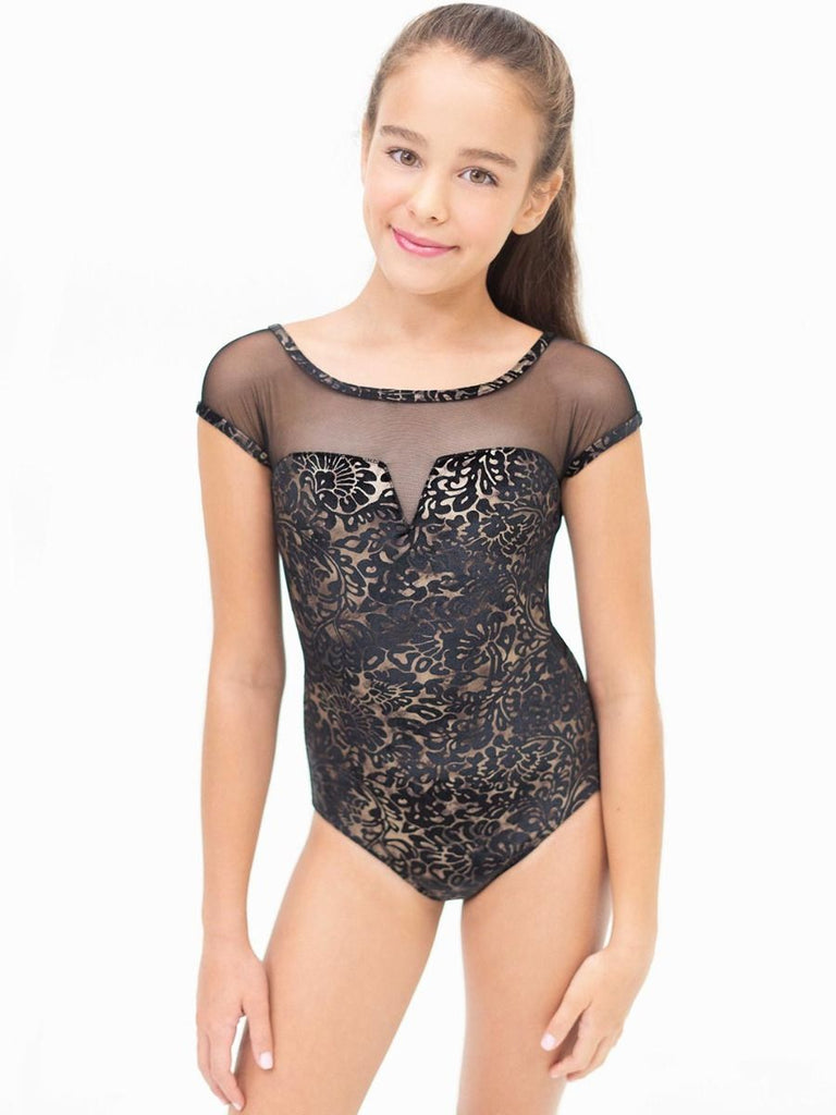 DAMASK MESH YOKE NOTCHED LEOTARD (TWEENS)