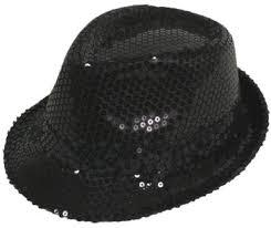 BLACK SEQUIN GANGSTER HAT - First Class Dancewear NQ