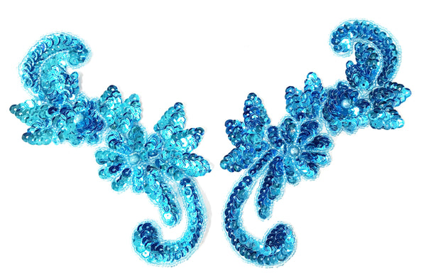 MIRROR PAIR SEQUIN FLOWER MOTIF