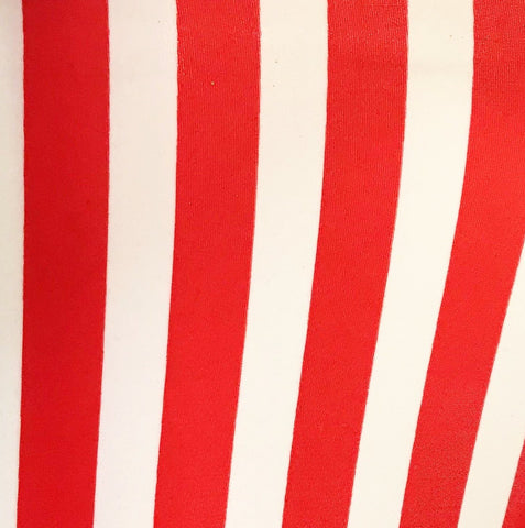 LYCRA MATERIAL RED AND WHITE STRIPS