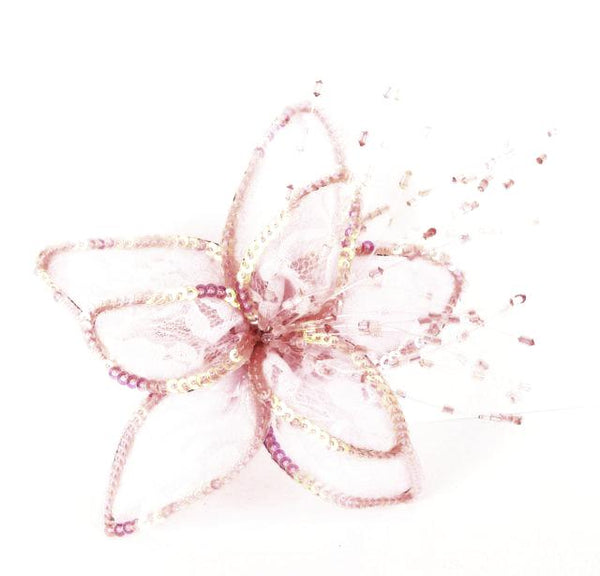 FLOWER SEQUIN, LACE AND BEADS HAIR CLIP PIN