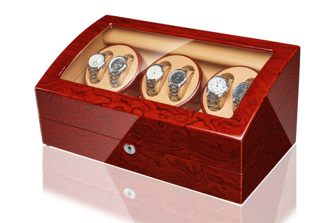 6 Watch Winder with 7 storages -Bubinga