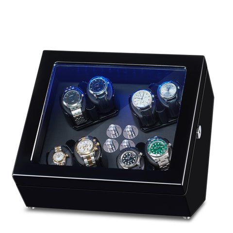 Watch Winder for 8 Winding Spaces with Built-in Illumination - Black