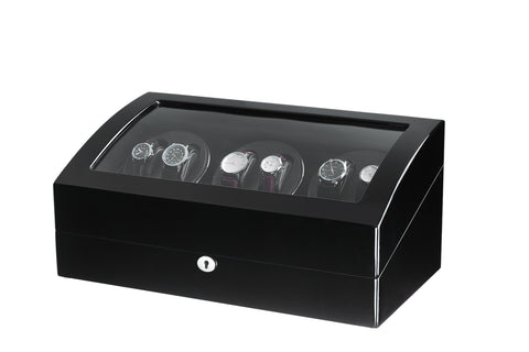 Black Six Automatic Watch Winder with 7 Extra Storages Spaces