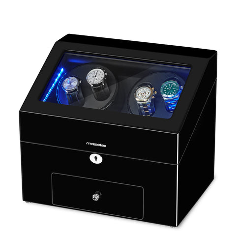 Black Automatic Watch Winder, Built-in Blue LED Illuminated