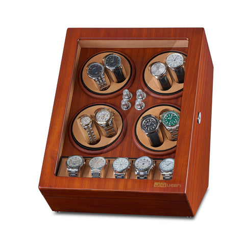 Watch Winder for 8 Automatic Watches with 5 Display Storage Spaces - Ebony