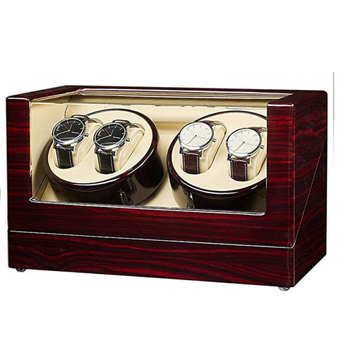 Ebony Quad Watch Winder -- Quiet Motors