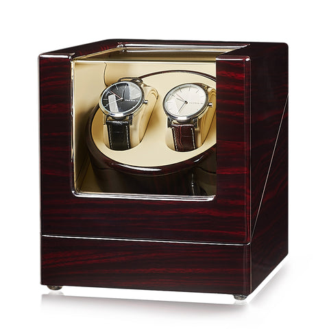 Ebony Double Watch Winder -- Quiet Motor