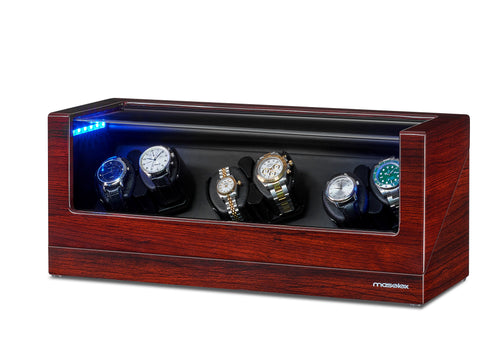 6 Watch Winders Build in Led Illuminated, 21 Rotation Mo