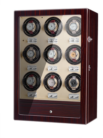 Watch Winder With Nine Quiet Motors, Powered by USB, in Black Red Wood