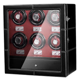 6 Watch Winder with Quiet Motor Hold for Heavy Watch, Leather