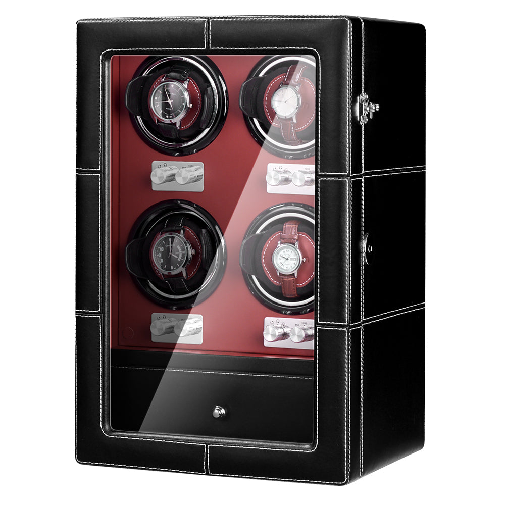 Quad Automatic Watch Winder with Four Quiet Mabuchi Motors in Black Red Leather