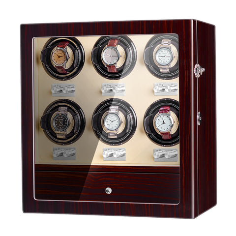 6 Watch Winder with Quiet Motor Hold for Heavy Watch, Wood
