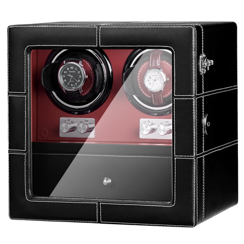 Double Watch Winder with Quiet Motor in Black Red Leather