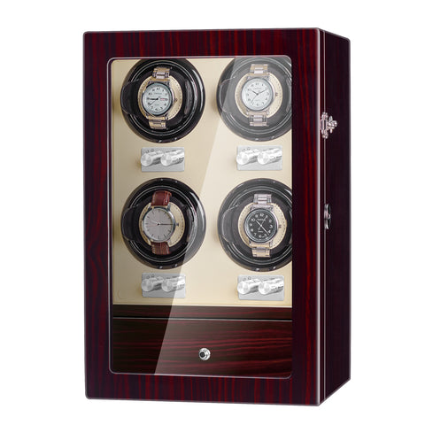 Quad Automatic Watch Winder with Four Quiet Mabuchi Motors in Red Wood
