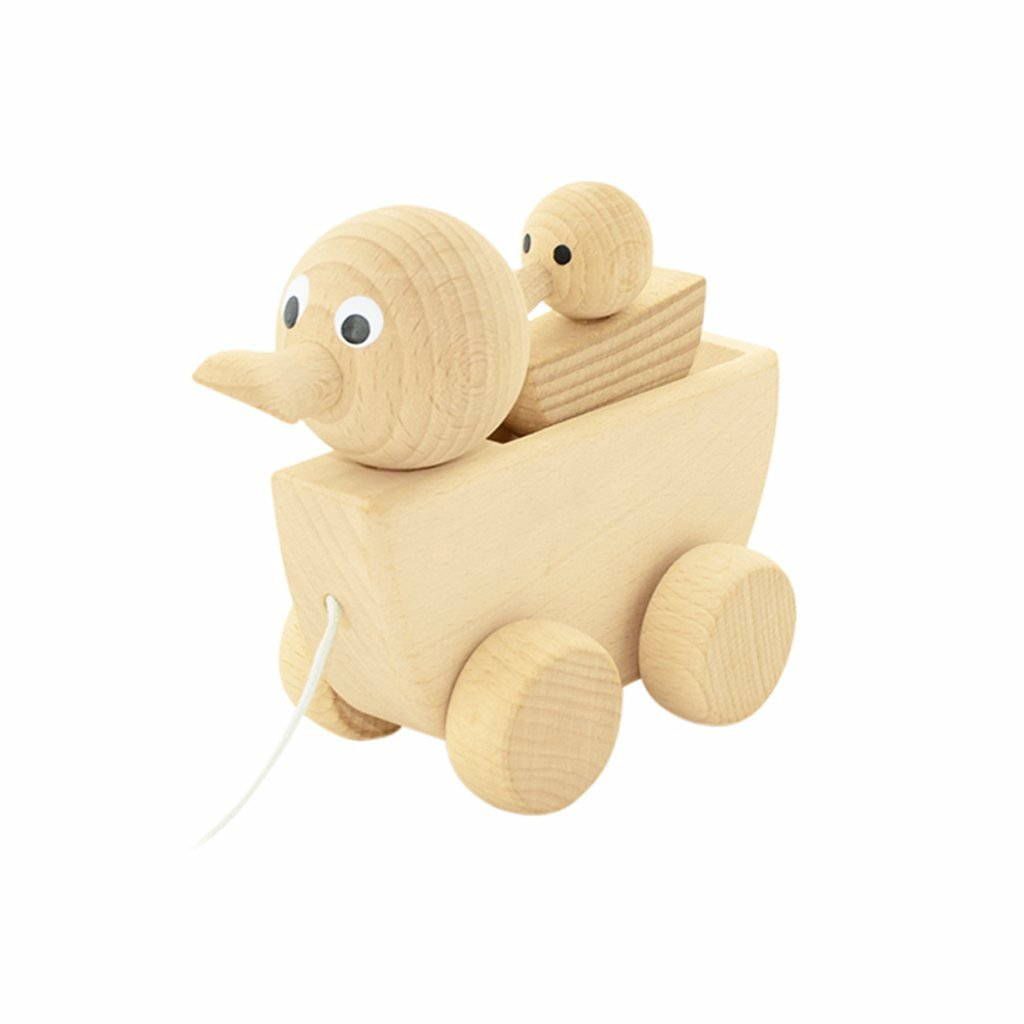 Gracie - Wooden Pull Along Duck With Duckling