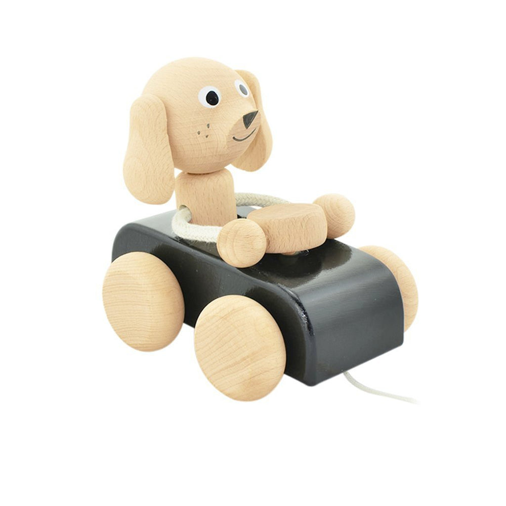 JUDE | Wooden Pull Along Dog In Car