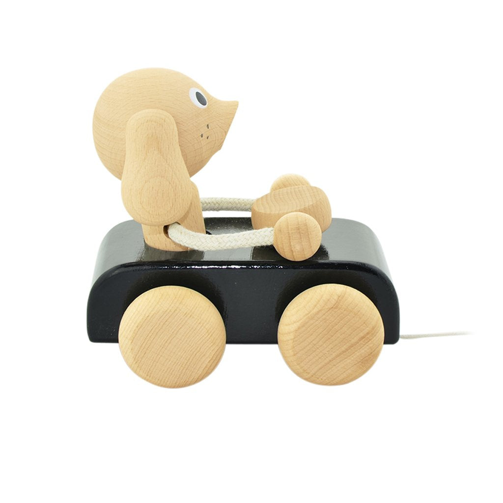 Jude - Wooden Pull Along Dog In Car