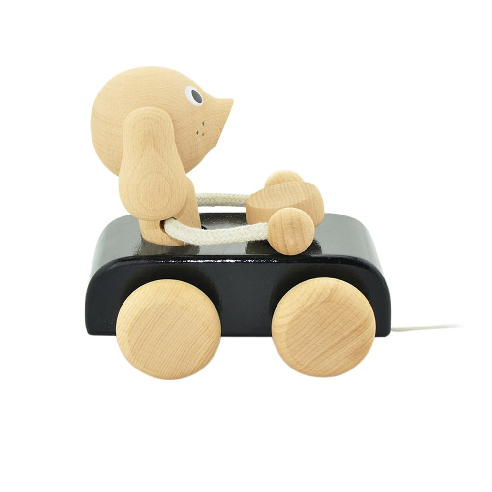 JUDE | Wooden Pull Along Dog In Car - The Mum Life
