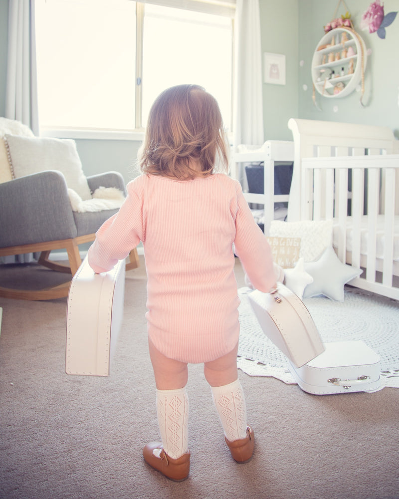 Long Sleeve ribbed winter Bodysuit - Dusty Pink - The Mum Life