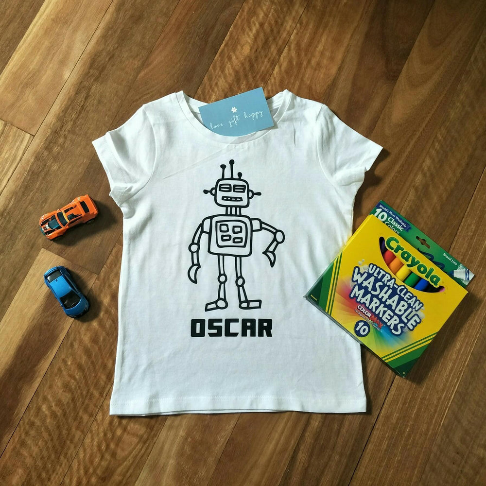 Kids Colouring in T-Shirt personalised with their name. Wash+wear over & over again | Birthday Gift Idea | Party Favour | Kids Party Present