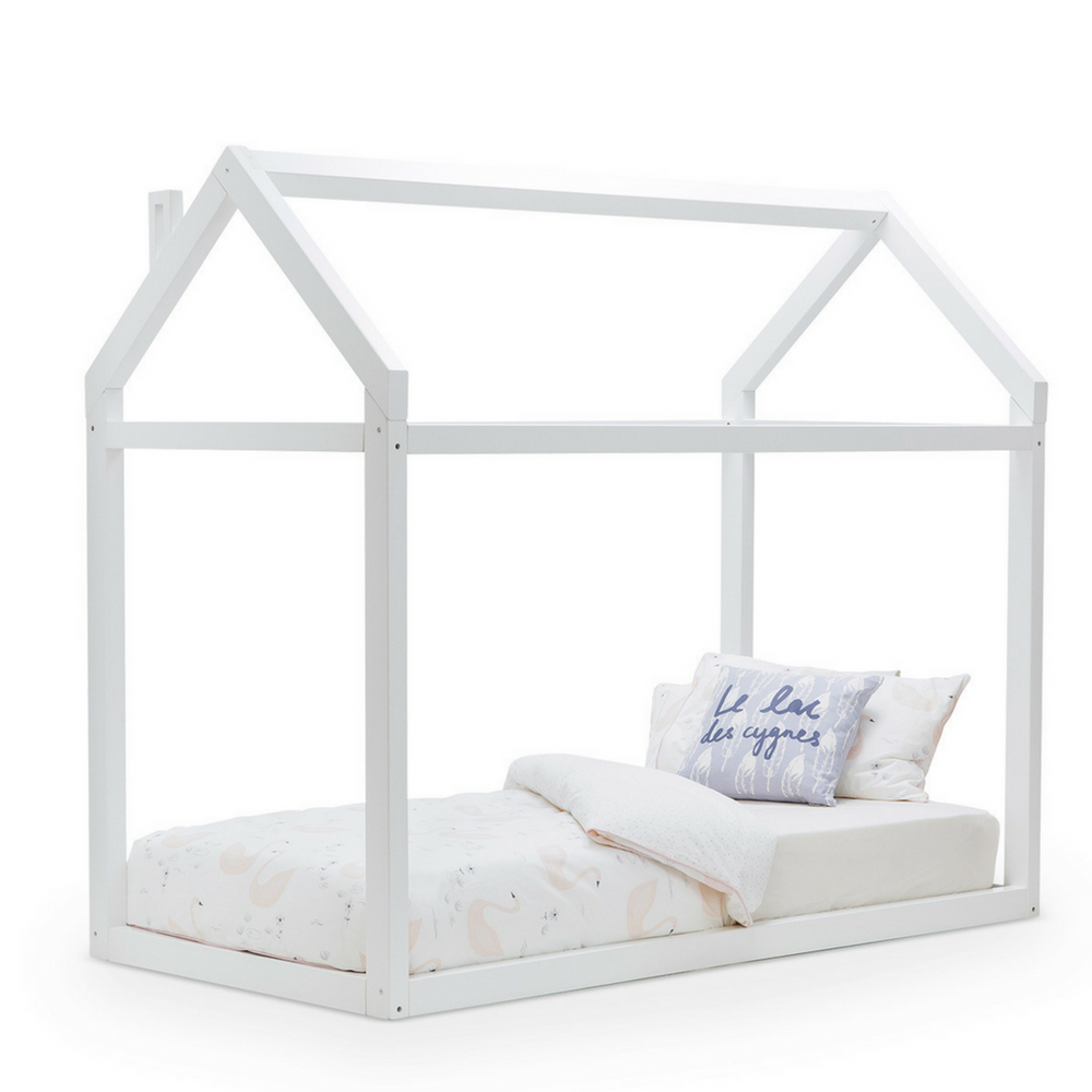 Wooden House Single Bed | WHITE