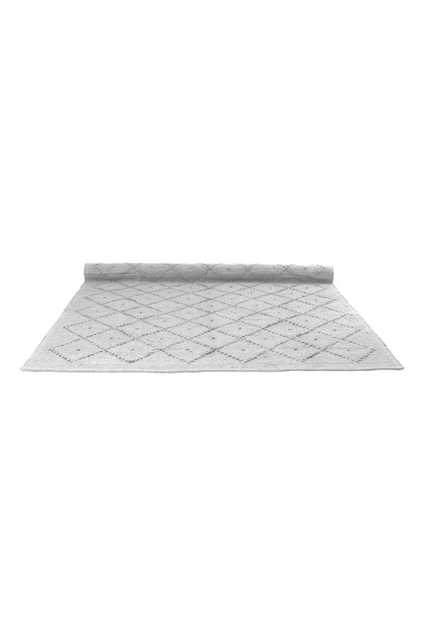 Diamond Pebble Grey Woven Cotton Naco Rug