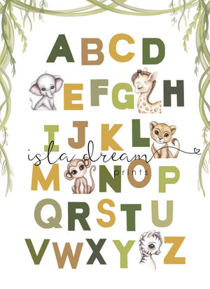 ABC nursery poster jungle giraffe theme