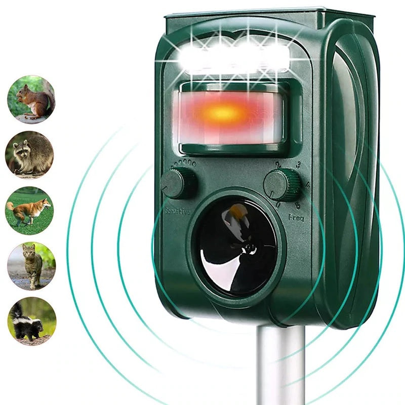 Solar Power Animal Pest Control Mouse Repeller Ultrasonic Scarer Frighten Cats Dogs Foxes Repellent for Garden Outdoor Trap