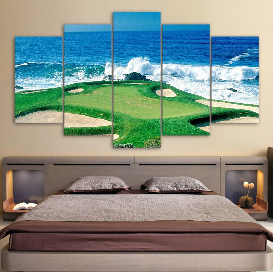 Canvas Paintings Printed 5 Pieces Golf Course Coast Wall Art Canvas Pictures For Living Room Bedroom Modular Home Decor