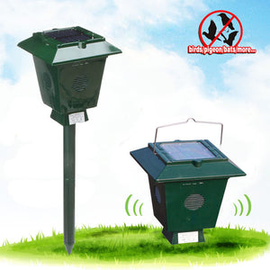 Dual-band Solar Ultrasonic Bird Repeller Garden Orchard Fishpond Electronic Birds Scarer