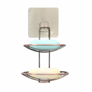 Double Deck Bathroom Strong Suction Cup Wall Soap Holder Dish Basket Tray