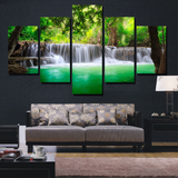Canvas Pictures Wall Art Posters 5 Pieces Green Waterfall Tree Scenery Paintings HD Prints