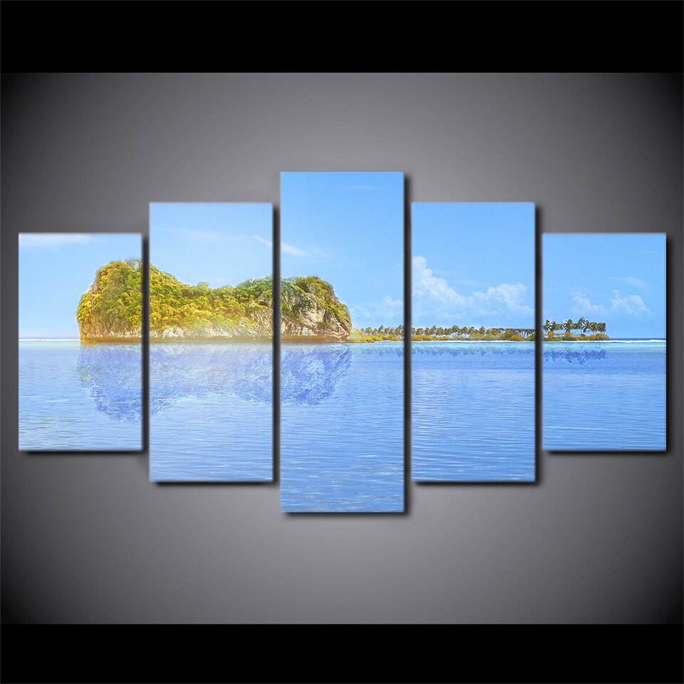 5 Pieces Evening Sea Canvas Art HD Print Painting Canvas Picture Wall Painting
