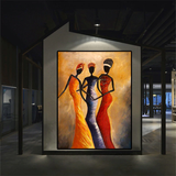 African Women Oil  Painting Wall Pictures Large Canvas Wall Art Figure Painting