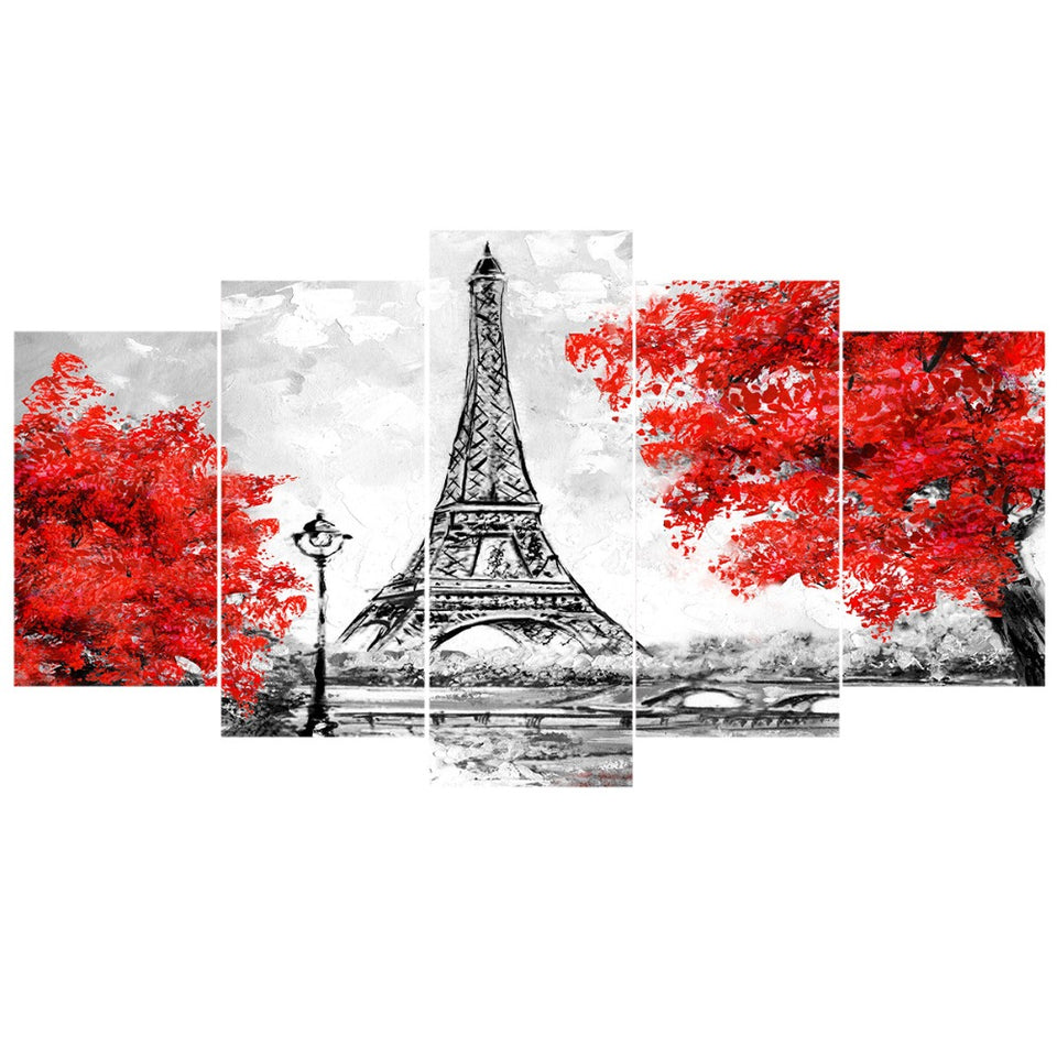 Modular Canvas Picture HD Printed Wall Art  5 Panels Paris Tower Red Tree Rainy View Painting Living Room